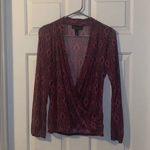 INC See-Through Deep V Blouse Size Medium